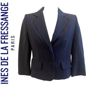 INES DE LA FRESSANGE wool blend blue and pink pint striped blazer